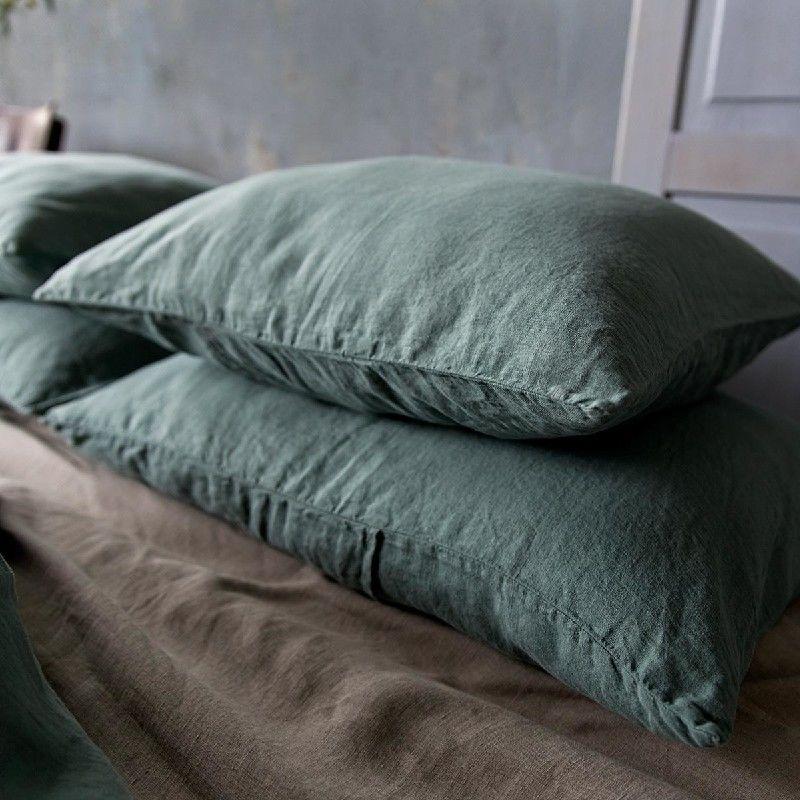 Poszewka na poduszkę lniana MOANA Pure, Rozmiar - 50x70, Kolor - eucaliptus green WYPRZEDAŻ, WYSYŁKA GRATIS, 603-671-572