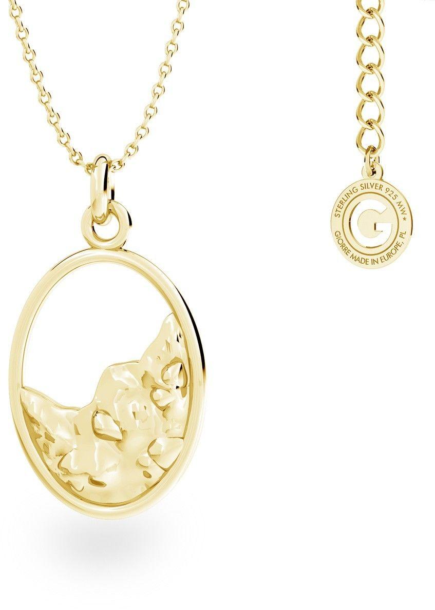 Srebrny naszyjnik z ozdobną zawieszką, srebro 925 : Srebro - kolor pokrycia - Pokrycie żółtym 18K złotem