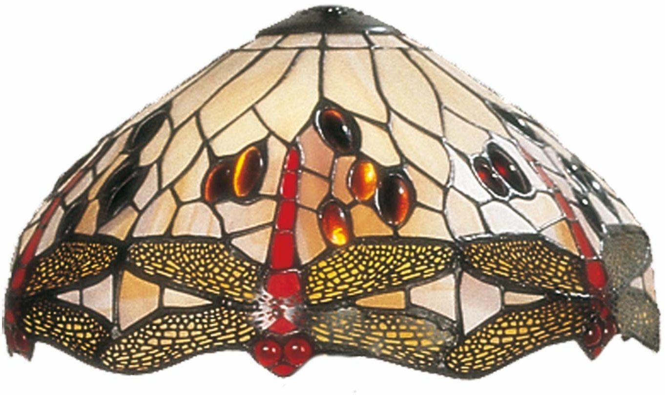LumiLamp 5LL-1100 Tiffany Stil abażur ważka beżowy kolorowe szkło ok. Ø 30 cm ręcznie wykonany szklany klosz