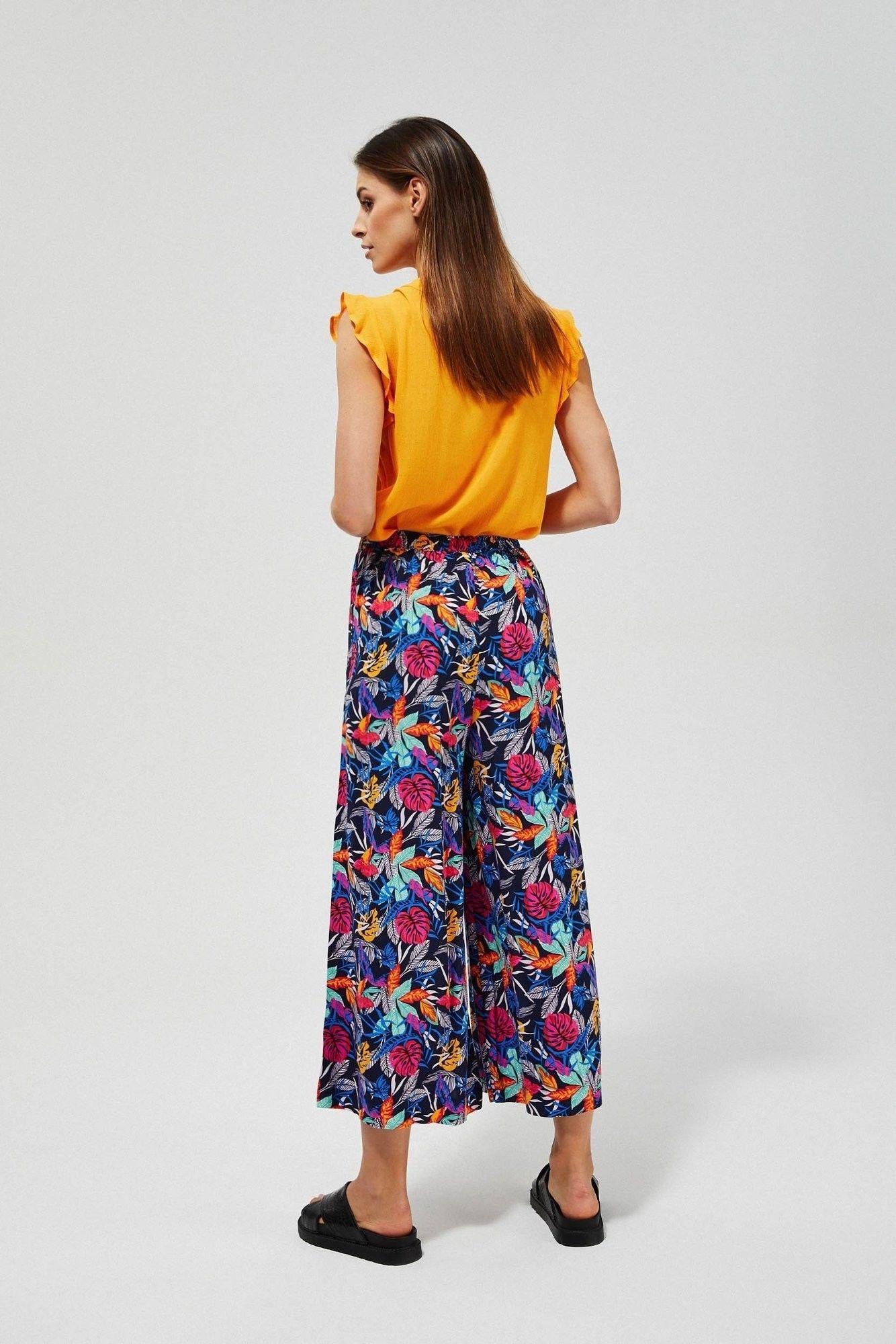 Szerokie spodnie z tropikalnym nadrukiem