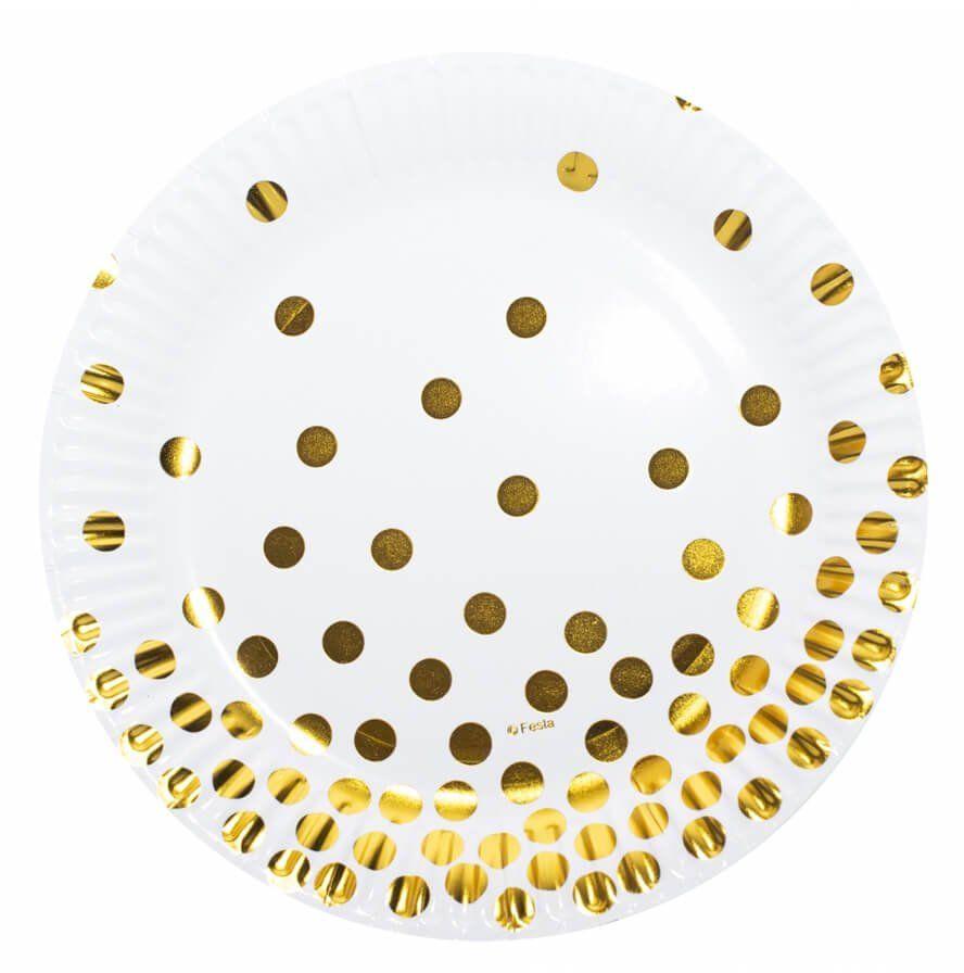 Talerzyki papierowe białe w złote groszki - 18 cm - 6 szt.