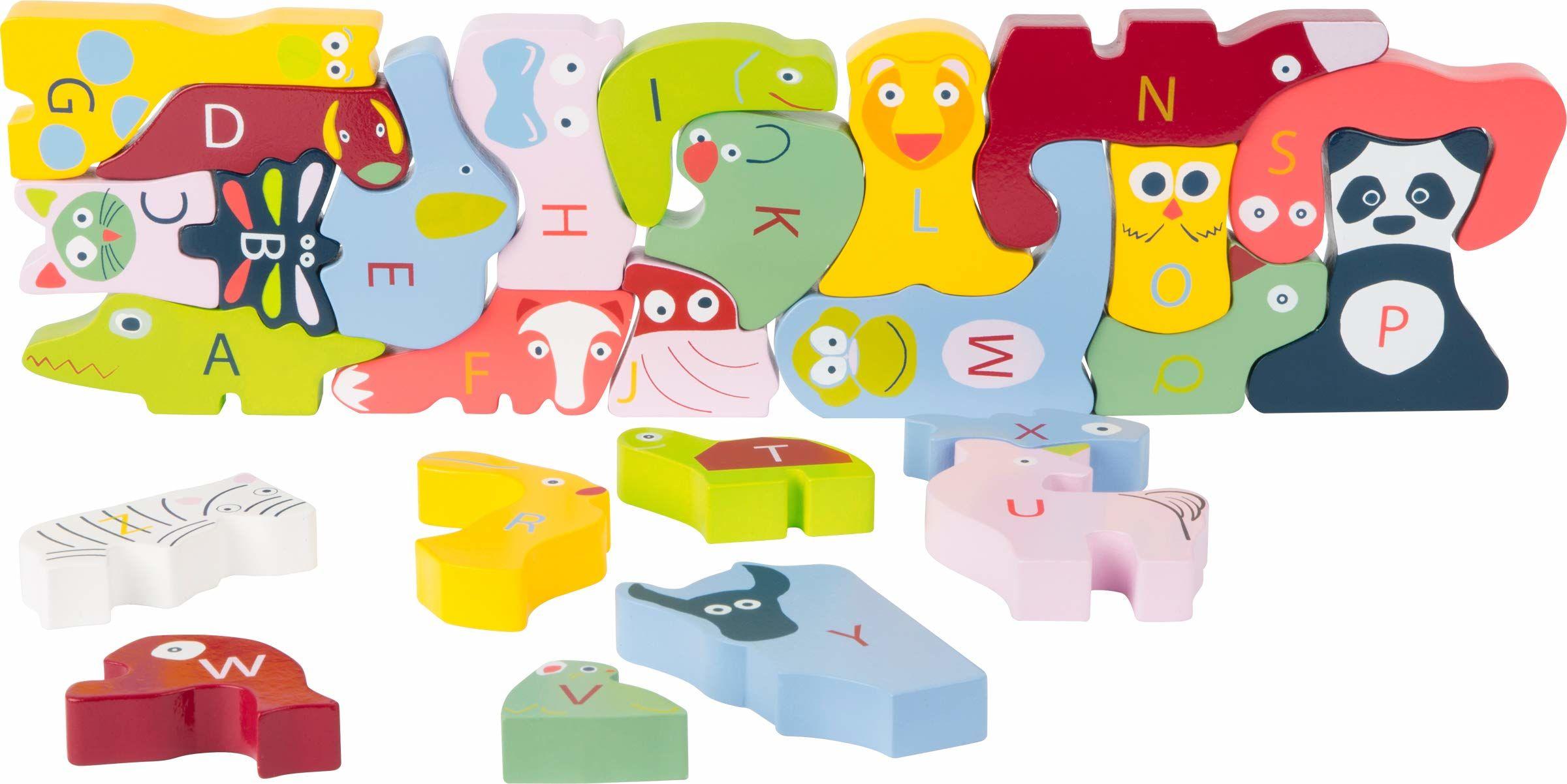 Small Foot Design 10869 ABC puzzle składa się z 26 drewnianych zwierzątek, z literami i kolorowymi twarzami, wspaniała zabawka edukacyjna dla dzieci w wieku przedszkolnym, dla dzieci od 3 lat