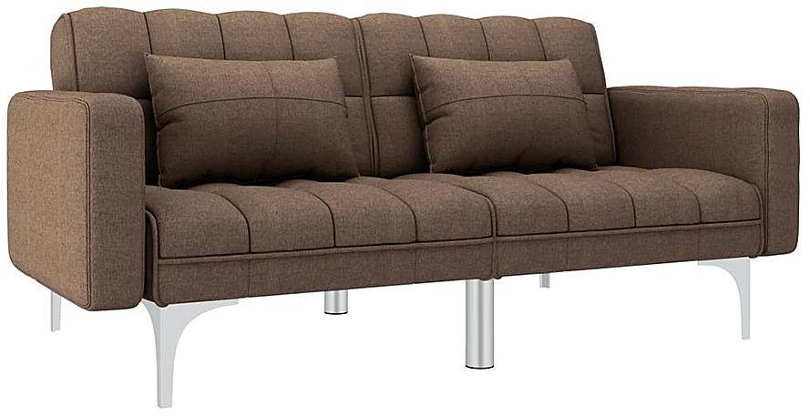 Rozkładana brązowa kanapa z poduszkami - Harris