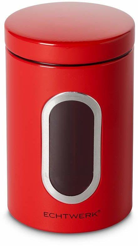Echtwerk Stylowe pojemniki na zapasy, zestaw 3 sztuk, czerwone, do przechowywania mąki/cukru/musli / herbaty, metalowa puszka z hermetyczną pokrywką i dużym okienkiem, pojemność 1,4 l, żelazo
