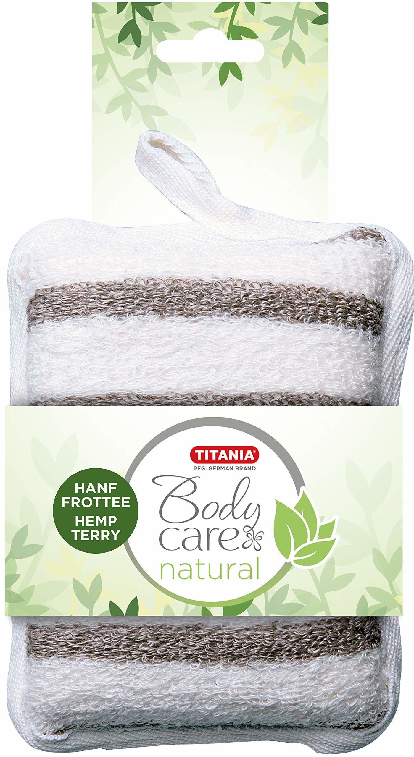 Titania kąpielowa gąbka do masażu z konopi i frotte, biała i beżowa w paski, prostokątna