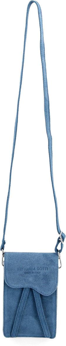 Uniwersalne Torebki Skórzane Listonoszki na telefon renomowanej firmy Vittoria Gotti Jeansowa (kolory)
