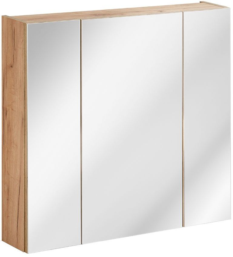 Podwieszana szafka łazienkowa z lustrem - Malta 5X Dąb 80 cm