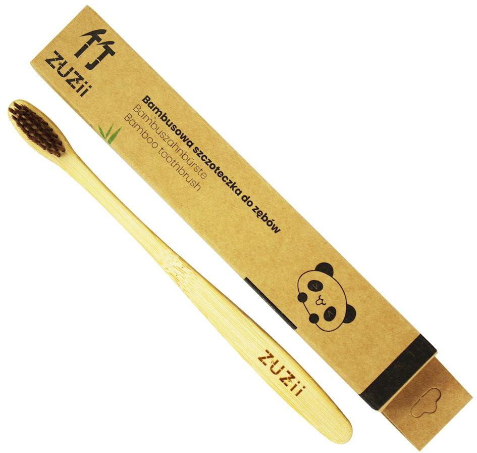 Szczoteczka do zębów dla dorosłych bambusowa brązowa - zuzii