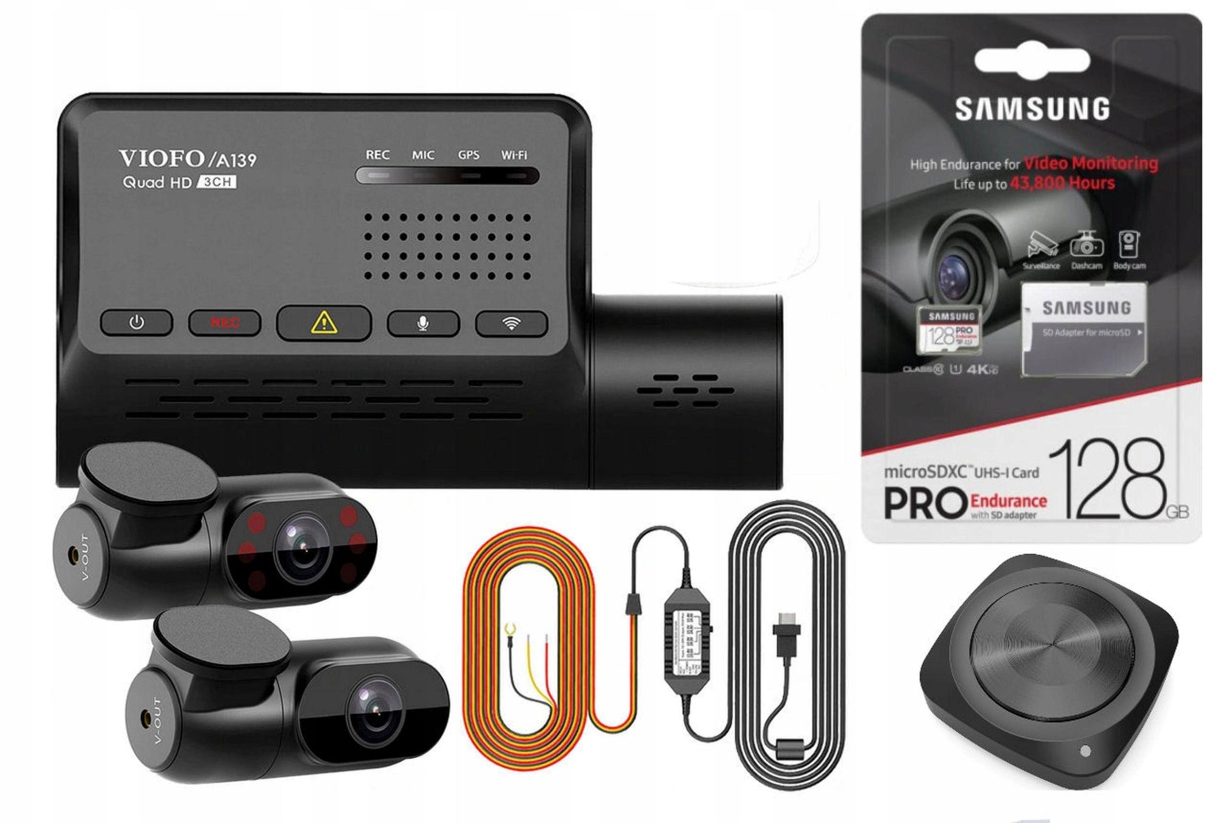 Wideorejestrator Kamera Viofo A139 128GB HK3 BLTH Karta Pamięci 128GB Zasilacz 12-24 V HK3-C Bluetooth w Zestawie
