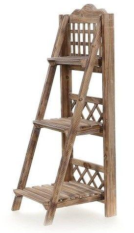 Drewniany stojak z trzema półkami Kwietnik kaskada kolor naturalny wys. 100 cm