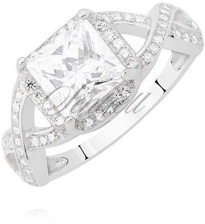 Srebrny duży pierścionek pr.925 z białą dużą kwadrtową cyrkonią