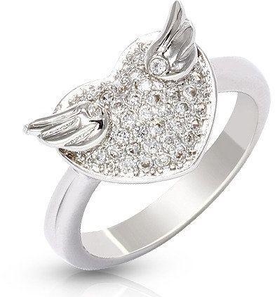 Pierścionek Srebrny Białe Serce ze Skrzydłami