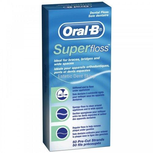 ORAL B SuperFloss - nić dentystyczna z cienką gąbką do mostów, aparatów ortodontycznych i implantów