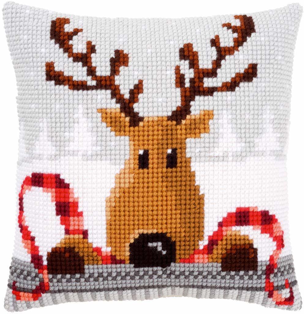 Vervaco renifer z czerwonym szalikiem poduszka z haftem krzyżykowym, wielokolorowa