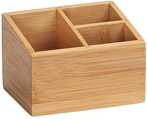 WENKO Bambusowy organizer Terra z 3 przegródkami  pudełko do przechowywania, kosz łazienkowy, bambus, 12 x 8,5 x 9 cm, naturalny