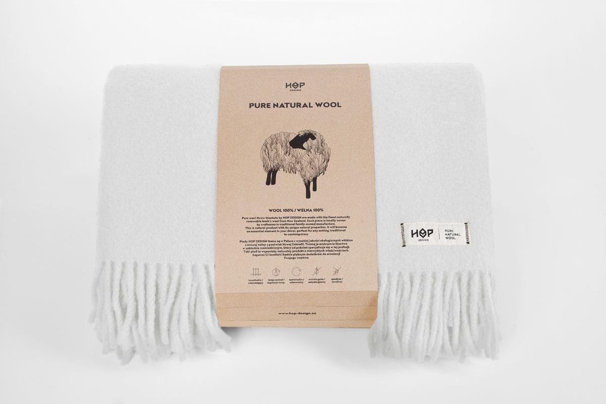 Koc wełniany 145x205 HOP Design Yeti Perłowy Biały