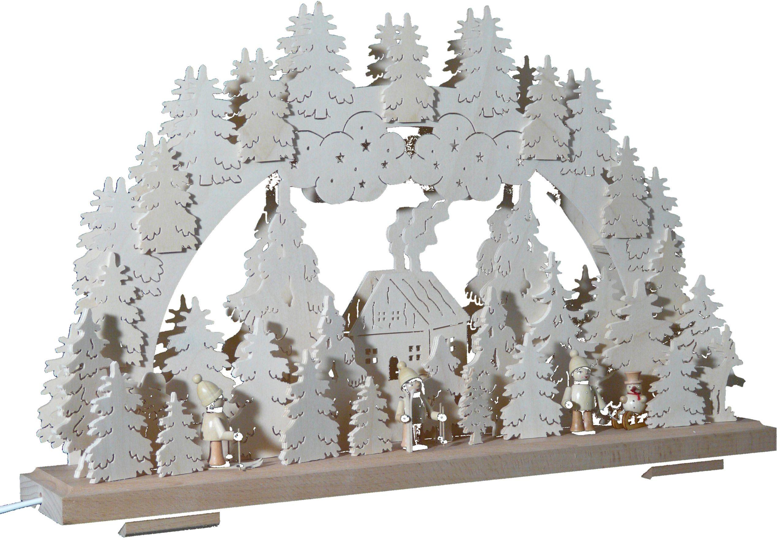SchwibboLa 3-192 Erzgebirgischer podwójnie podświetlany świecznik łukowy z certyfikatem 3-192, 50 x 30 cm