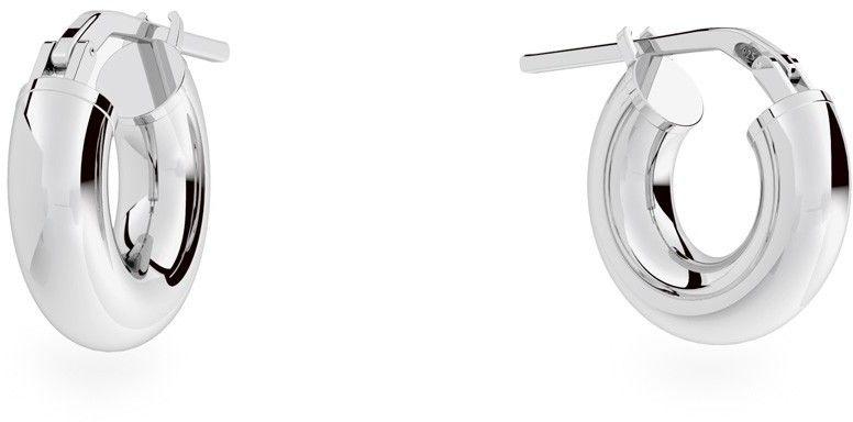 Srebrne kolczyki koła 2 cm z zapięciem, srebro 925 : Srebro - kolor pokrycia - Pokrycie platyną