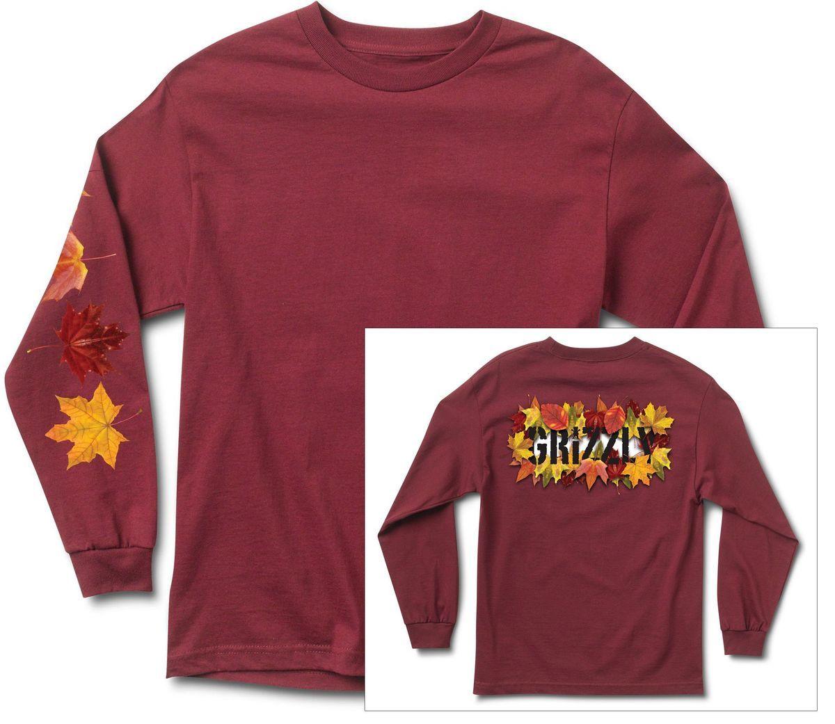 t-shirt męski GRIZZLY SEASONAL STAMP LS TEE Burgundy
