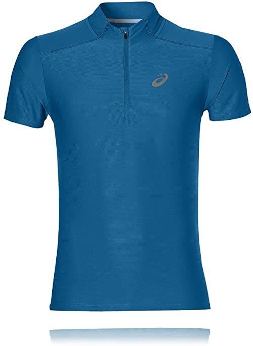 Asics Męskie Running Essentials 12 ZIP 134087-8154 T-shirty, niebieskie, XL