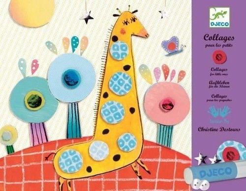 Djeco - Zestaw Artystyczny Kolaże dla Najmłodszych Zwierzątka Safari Dj08666