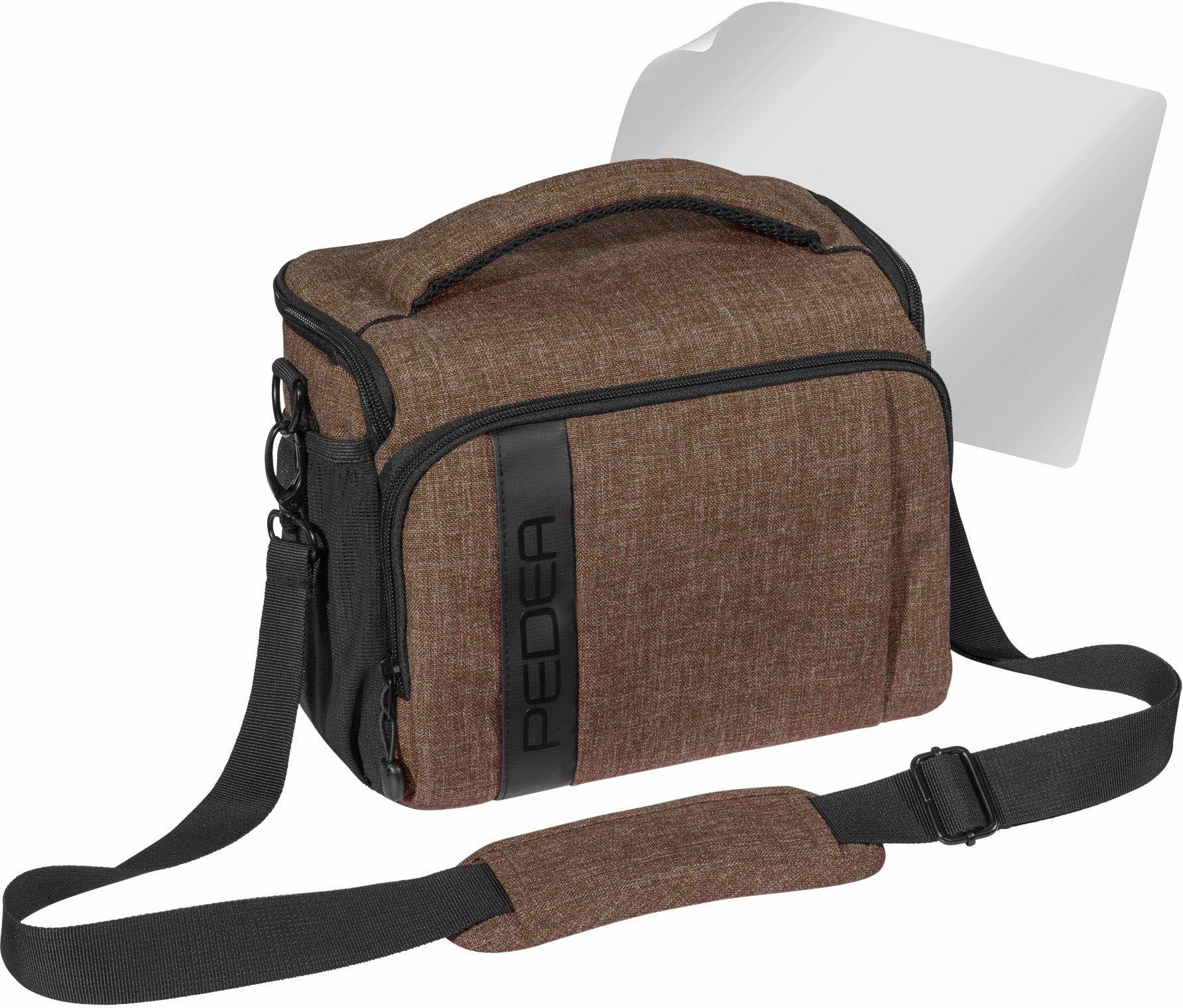 """PEDEA DSLR torba na aparat """"Fashion"""" z folią ochronną na wyświetlacz do Canon EOS 5D Mark II 400D 2000D / Nikon D60 D80 D90 D3100 D3200 D3300 D3400 D5300 D7100 / Pentax K 50 K 500, rozm. XL brązowy"""