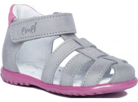 EMEL E1078-2 ROCZKI sandałki sandały profilaktyczne szary róż dziewczęce