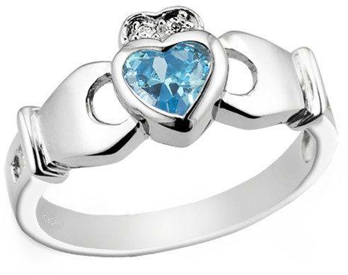 Pierścionek Srebrny Błękitne Serce w Koronie