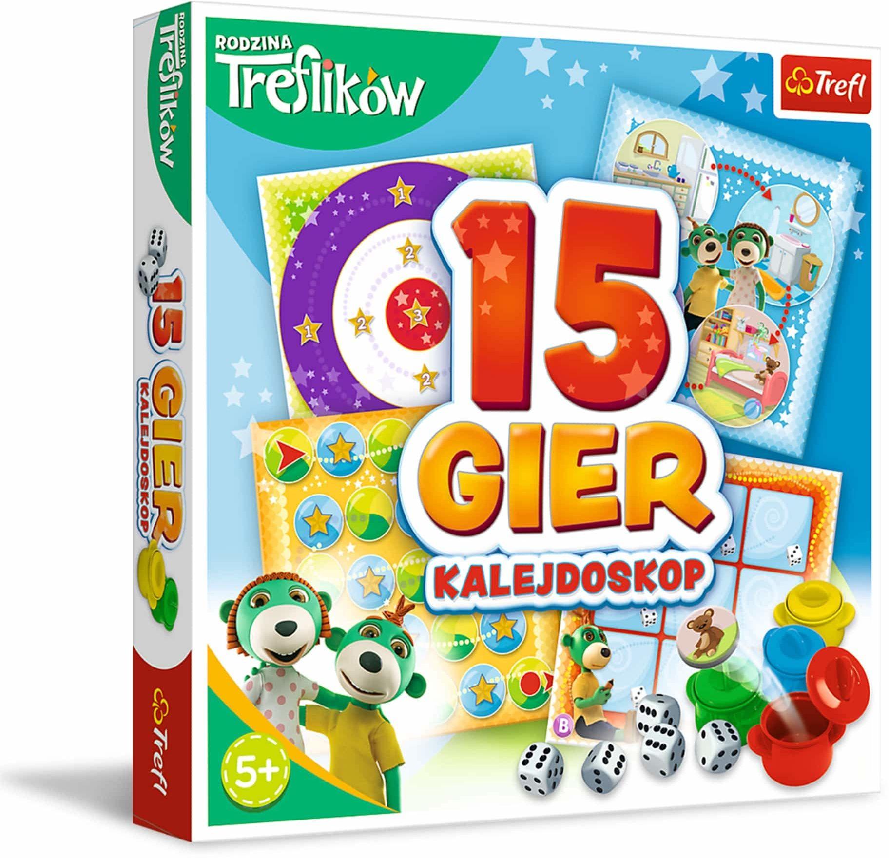 Trefl Kalejdoskop 15 Gier Zestaw Rodzinnych Gier z Bohaterami Bajki Rodzina Treflików dla Dzieci Powyżej 5 Lat