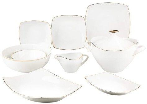 Mariapaula Moderna Gold Kwadrat 24 El. Biały - Serwis Obiadowy Porcelanowy Na 6 Osób