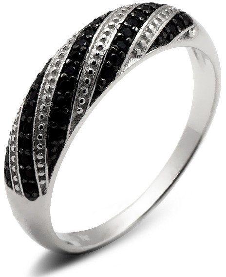 Pierścionek Srebrny z Czarnymi Mikro Cyrkoniami