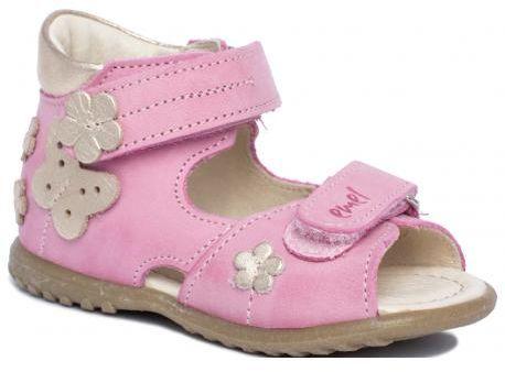 EMEL E2207-28 ROCZKI sandałki sandały dziewczęce róż- złote kwiatki i motylek