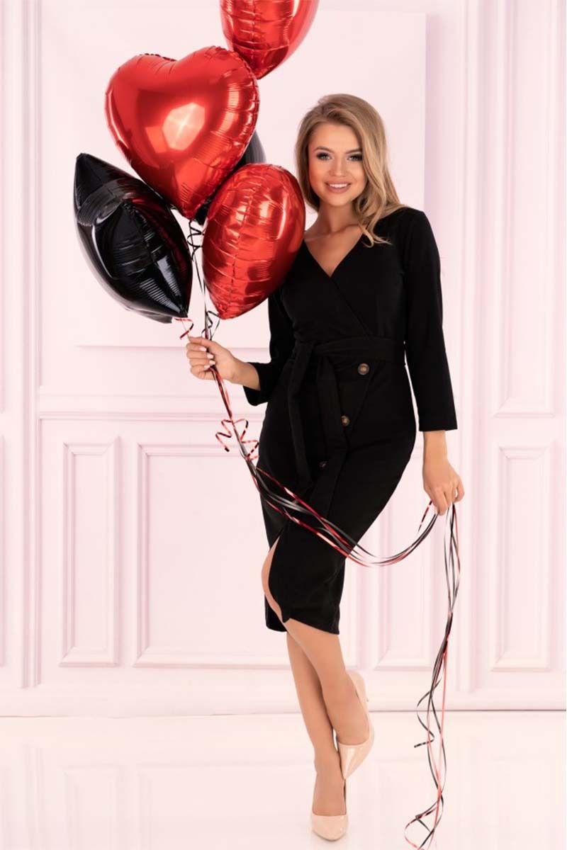 Czarna prosta kopertowa sukienka z guzikami