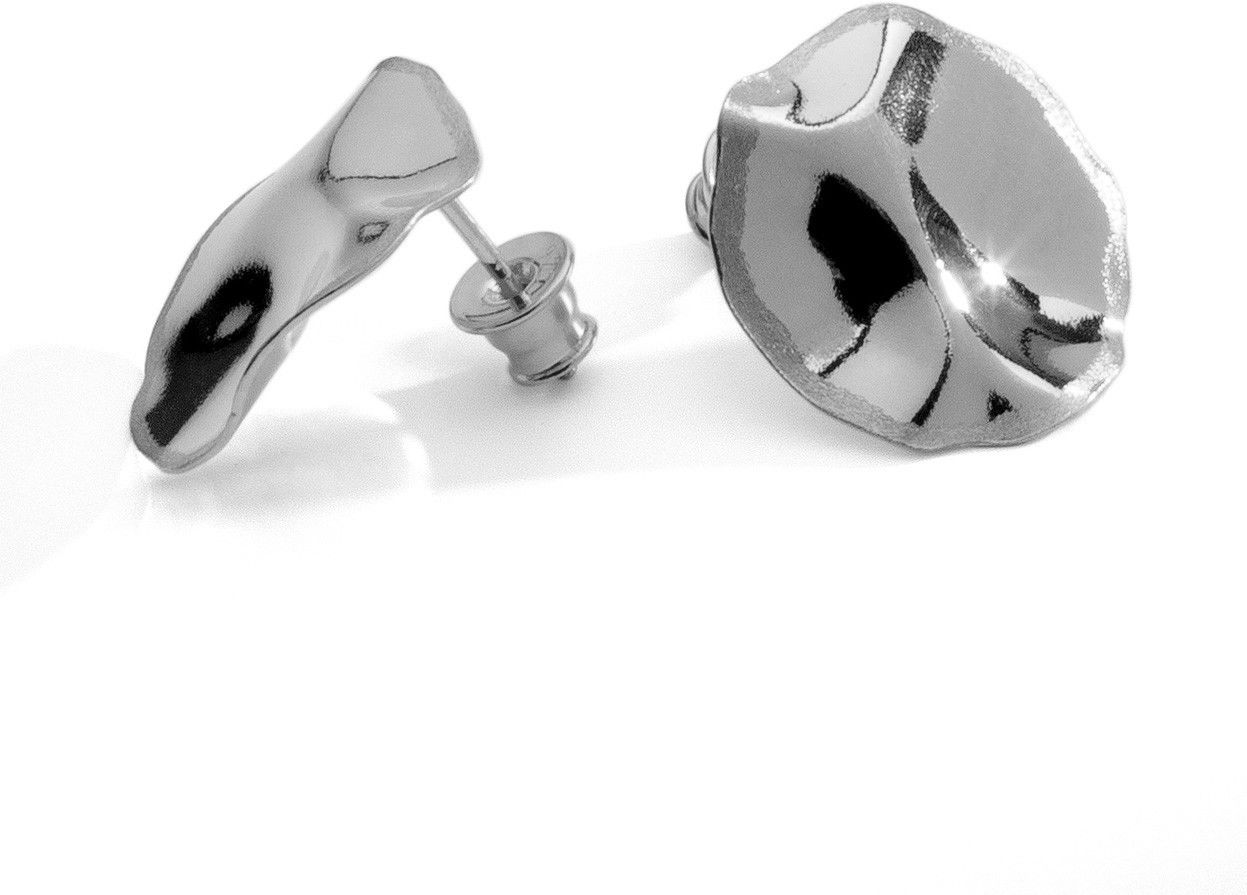 Delikatne kolczyki z gniecionej blachy srebro 925 : Srebro - kolor pokrycia - Pokrycie platyną