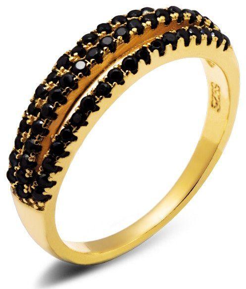Pierścionek Srebrny Złoty z Czarnymi Cyrkoniami