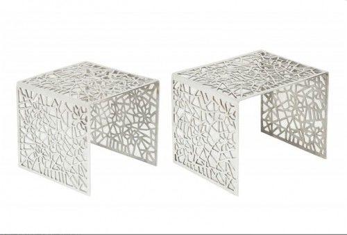 Zestaw stolików kawowych Abstract srebrnych Invicta