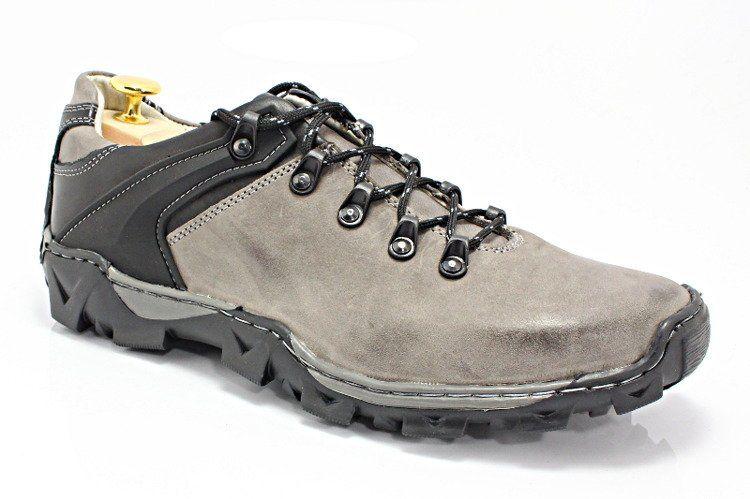 KENT 116 SZARE - Trekkingowe męskie 100% skóra - Szary Czarny