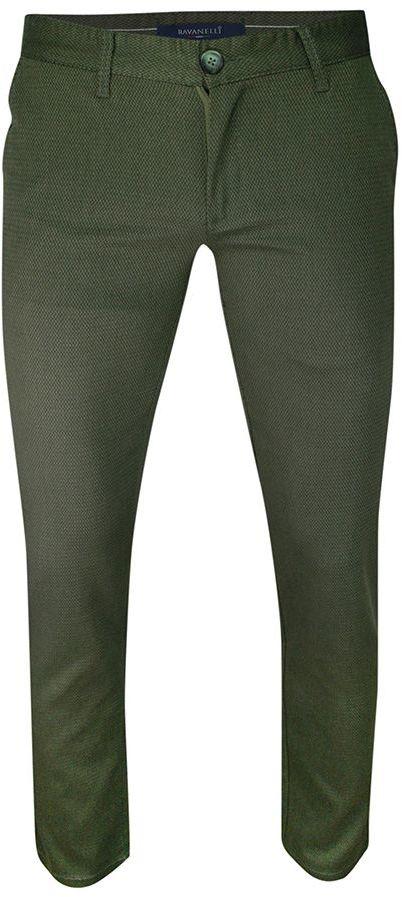 Spodnie Casualowe Zielone Męskie, Zwężane, Bawełniane, Chinosy, Wzór Geometryczny -Ravanelli SPRGNRENK2ziel
