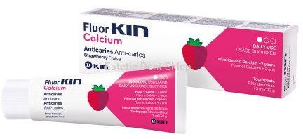 KIN FluorKIN Calcium truskawkowa pasta do zębów dla dzieci z fluorem i wapniem 75ml