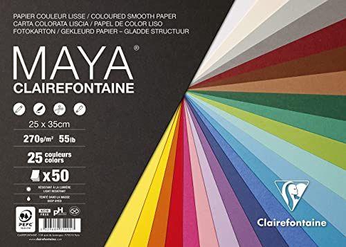 Clairefontaine 975405C  opakowanie z 50 arkuszami kartonu fotograficznego Maya, 25 x 35 cm, 270 g, różne kolory (25 kolorów x 2 arkusze)