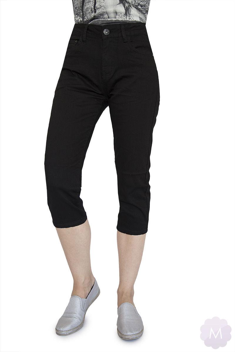 Czarne elastyczne spodenki 3/4 jeansowe z wysokim stanem firmy Goodies (VF809-Cz)