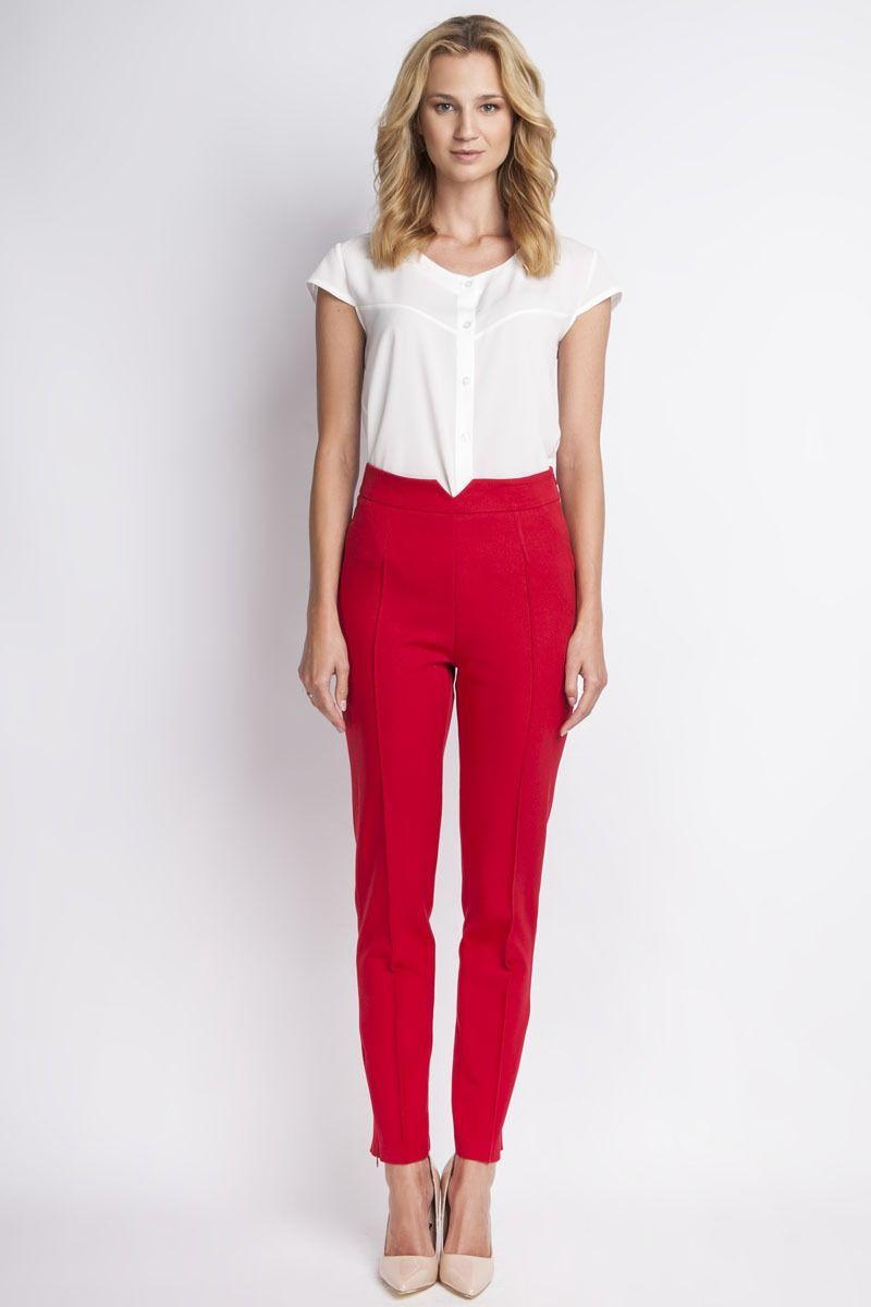 Klasyczne czerwone spodnie w kant z wysokim stanem