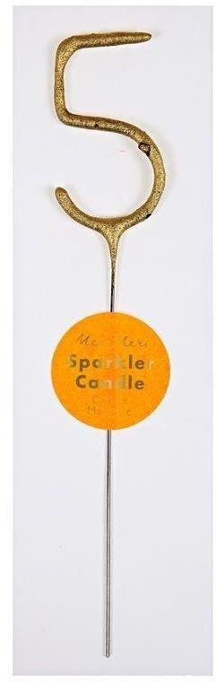 Świeczka zimne ognie 5 złota M156115-Meri Meri, akcesoria na urodziny, przyjęcia
