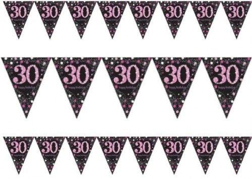 Baner z flag na 30 urodziny różowy Sparkling Celebration