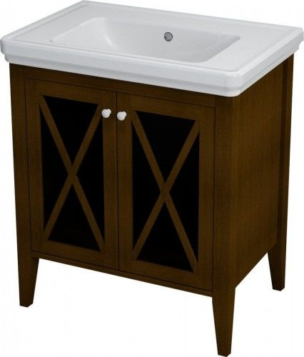 Szafka umywalkowa RUSTIC drewniana 70x81x47cm, kolor mahoń