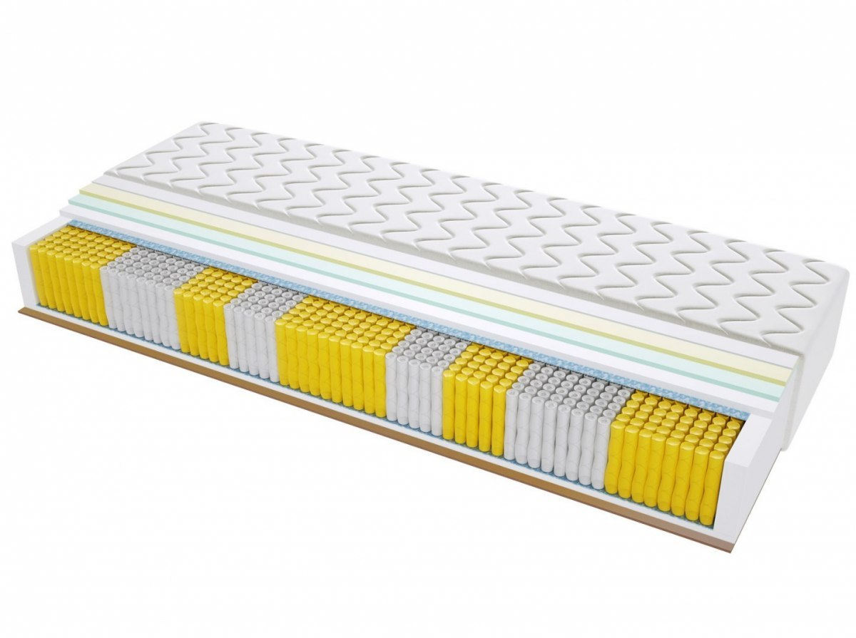 Materac kieszeniowy PORTO MULTIPOCKET 200x220 cm Średnio / Twardy Lateks Kokos Visco Memory