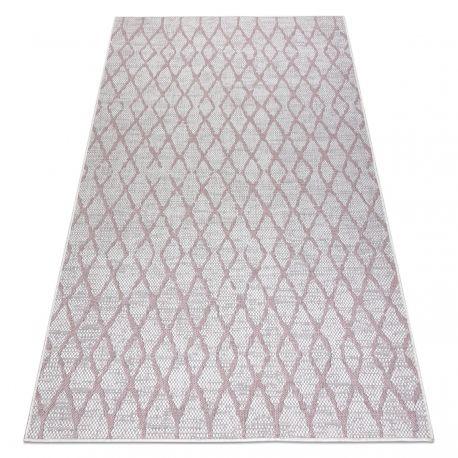 Dywan SZNURKOWY SIZAL SION Kratka 22129 płaskie tkanie ecru / róż 80x150 cm