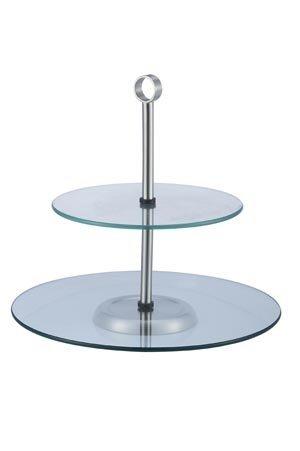 Patera 2 stopniowa szklana wys. 28cm