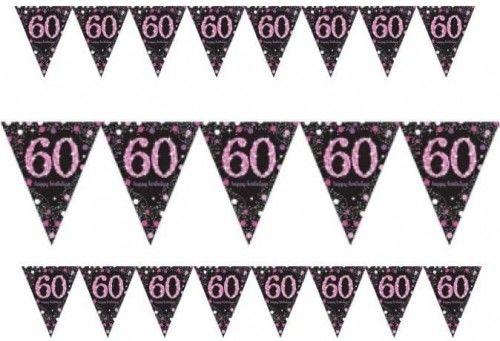 Baner z flag na 60 urodziny różowy Sparkling Celebration