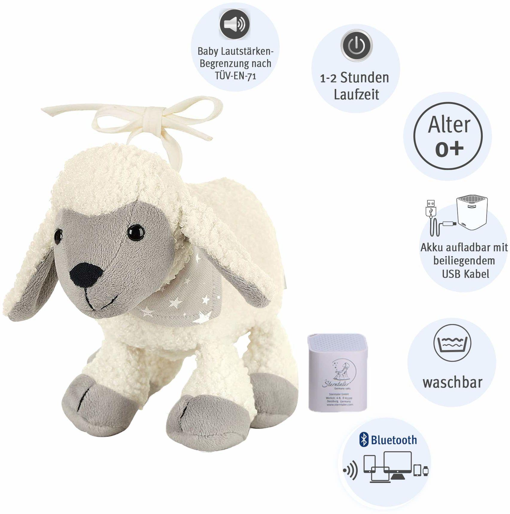 Sterntaler Chilling Box Owca Stanley, cyfrowa pozytywka, wraz z głośnikiem Bluetooth i kablem USB, wiek: niemowlęta od urodzenia, 18x15x8 cm, beżowa
